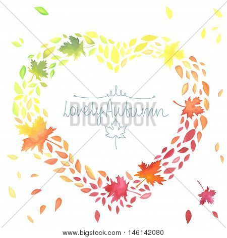 Autumn illustration with motley leaves in a heart shape. Watercolor imitation in vector. Each object is separately.
