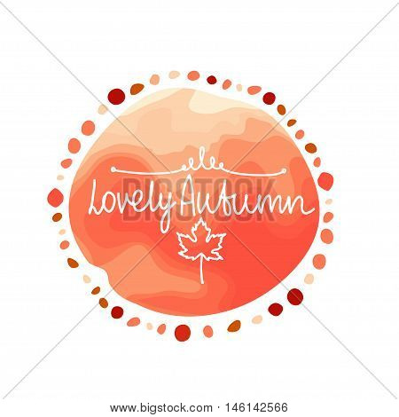 Autumn red background for text. Round shape spot isolated on white background. Watercolor imitation in vector. Each object is separately, easy to edit.