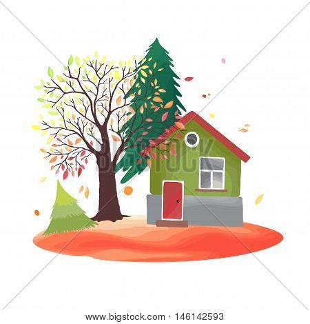 Autumn countryside. Illustration with rustic house, seasonal trees, fall leaves. Watercolor imitation in vector. Each object is separately, easy to edit.