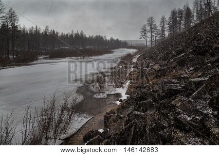 Spring bad weather with snow in South Yakutia Russia