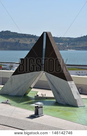 LISBON, PORTUGAL - AUG 21: Monumento aos Combatentes do Ultramar at Belem in Lisbon, Portugal, as seen on Aug 21, 2016. This monument was erected for the soldiers that lost their lives during the 1964-1971 conflict in Africa.