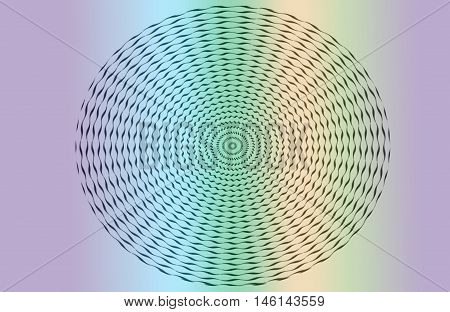 Colorful optical illusion zig zag lines in a circle