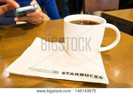 Bangkok ,thailand-january 19 : Starbucks Hot Beverage Coffee On Table On 19 January 2015 At The Depa