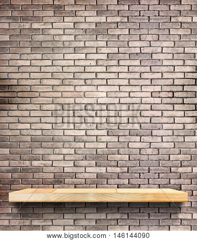 Wooden Shelf On Regular Light Orange Brick Wall,template Mock Up For Display Of Product,business Pre