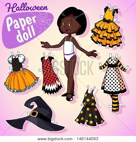 Very Cute Paper Doll With Five Beautiful Dresses At Halloween.