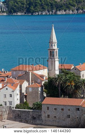 Landscape of Old town Budva in Montenegro