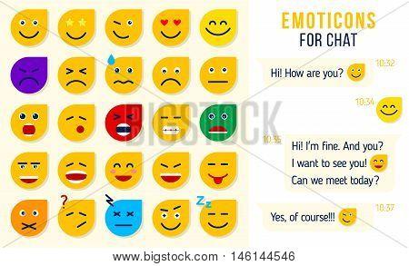 Set of flat emoticons emoji for chat Set of emoji. vector illustration.