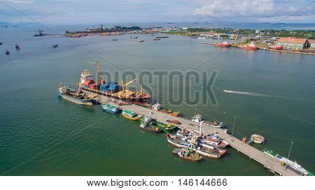 Labuan,Malaysia-Sep 7,2016 :Aerial view of the Labuan port at Labuan island,Malaysia.Its a sheltered deep-water harbour which is an important transshipment point for Brunei Darussalam,Sarawak & Sabah.