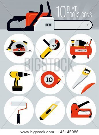 10 Flat tools icons. Modern flat icons vector collection. Tools icon set. vector illustrations. business elements marketing items.