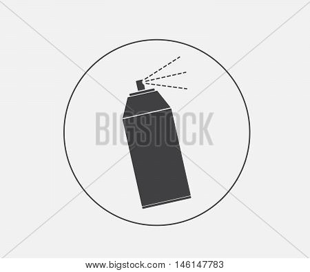 spray icon, spray can in black vector illustration