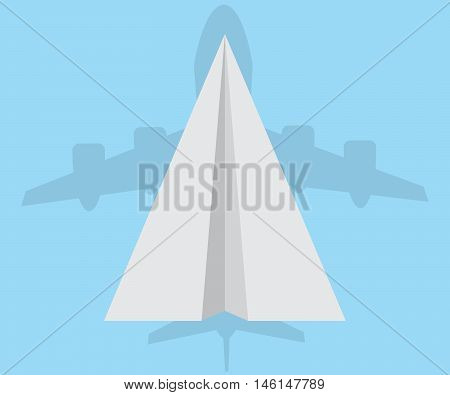 paper airplane with shadow of airplane think big concept vector illustrator