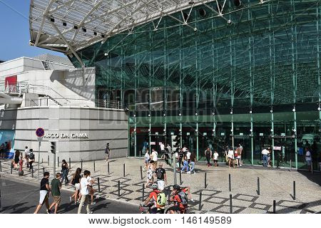 LISBON, PORTUGAL - AUG 21: Vasco da Gama shopping center in Lisbon, Portugal, as seen on Aug 21, 2016. Located in Parque das Nacoes, it features 164 stores and boutiques, including 36 restaurants.