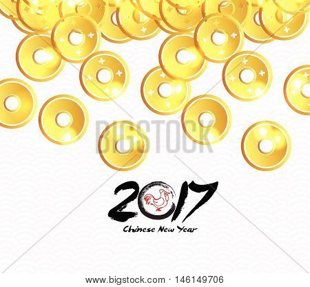 Chinese Copper Coins design.Chinese new year 2017