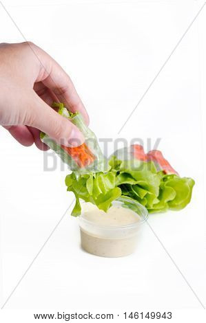 Vietnamese Spring Roll Or Thai Salad Roll With Vegetable And Salad Sauce (dipping With Hand)