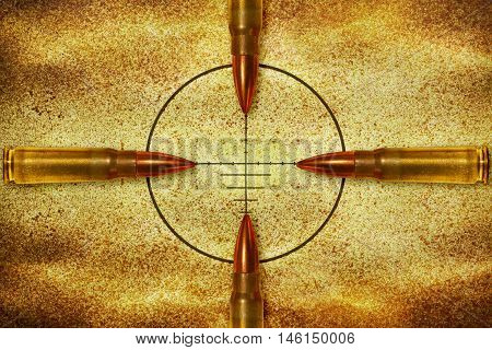Four bullets aiming in the same target from different direction