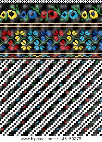 Embroidered old handmade cross-stitch ethnic Ukrainian pattern.  Traditional Ukrainian folk art pattern - vyshyvanka called in vector