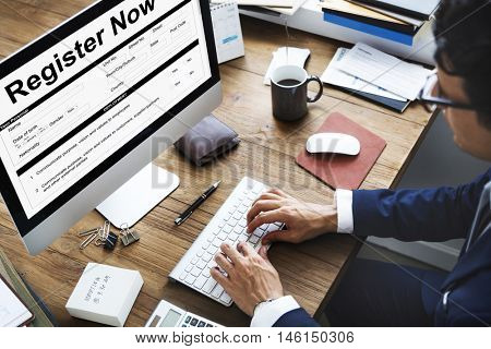 Register Now Document FIlling Form Concept