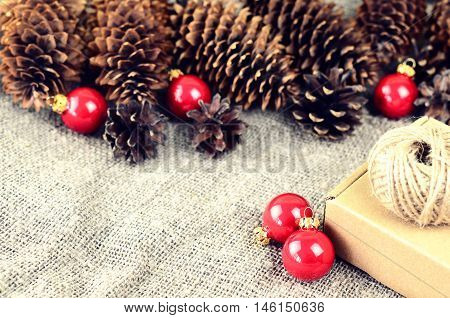 Natural Materials For Handcrafted Christmas Decoration (pine And Spruce Cones, Jute, Cardboard Box)