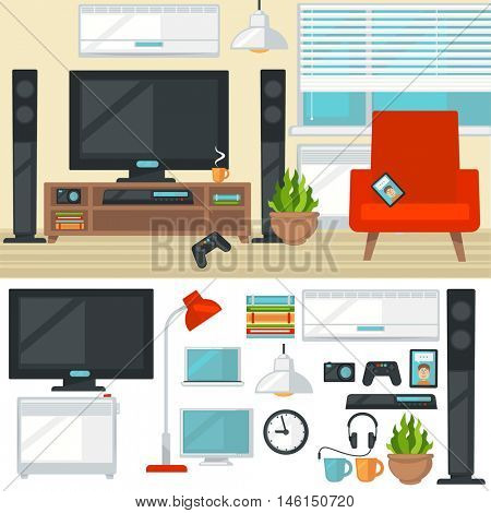 Concept of creative living room with chair and tv. Modern home interior with furniture and things and items. Isolated multimedia icons set. Flat style vector illustration.