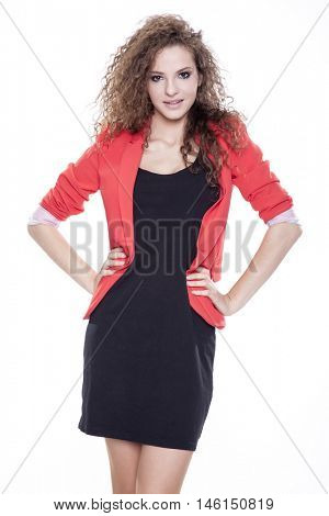 Silhouette of young adult attractive happy smiling woman dressed isolated on white background