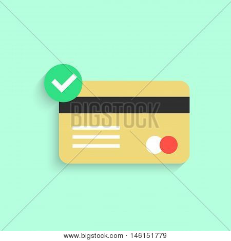 credit card with yes check mark and shadow. concept of e-commerce, loan, purchase, security code, customer, consumer. isolated on green background. flat style modern design eps10 vector illustration