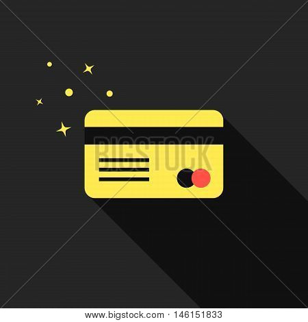 golden credit card with long shadow. concept of e-commerce, loan, purchase, security code, customer, consumer, deal. isolated on black background. flat style modern design eps10 vector illustration