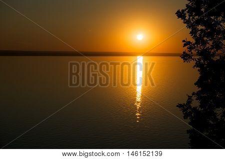 Sunset on Volga river near of Samara, Russia
