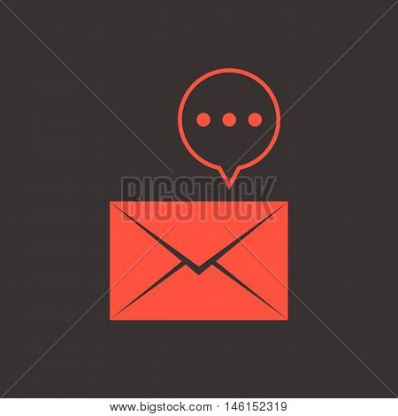 red closed letter with speech bubble. concept of sms, spam, writing, postcard, salutation, chatting, mailbox, textual talking, checking email. flat style modern logo design vector illustration