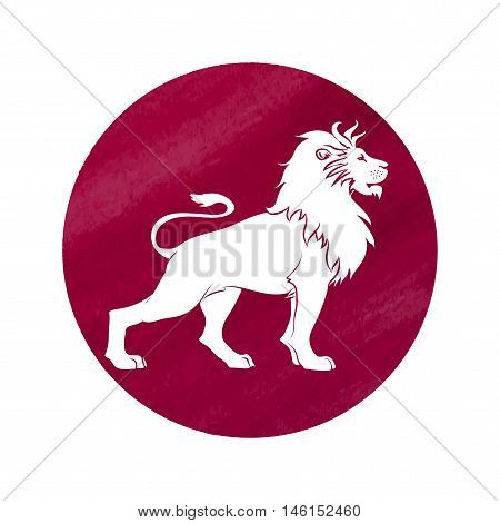 white silhouette of leo are on red watercolor background. Vector illustration