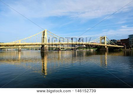 Bridge in Pittsburgh, Pennsylvania. No brand names or copyright objects.
