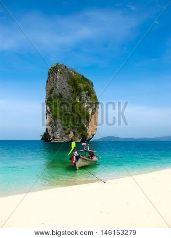 The blurred image of tropical landscape. Railay beach, Krabi, Thailand. View of the rock and beach