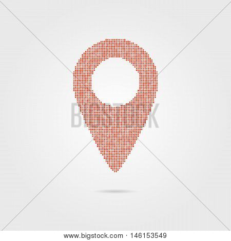 pin icon from red points with shadow. concept of geolocation, geographic, positioning, guide, geotagging, mapping, targeting, placement, tagging. flat style modern logo design vector illustration