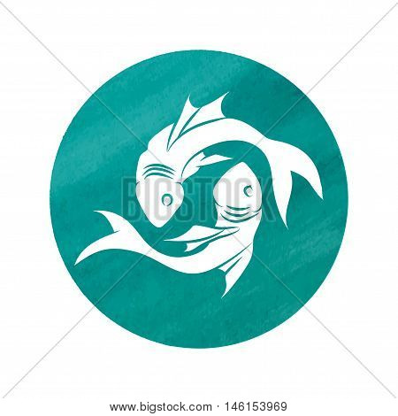 white silhouette of pisces are on green background. Vector illustration