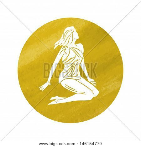 white silhouette of virgo are on watercolor yellow background.. Vector illustration
