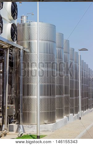 Stainless steel vessels used for the production of wine in the modern winery