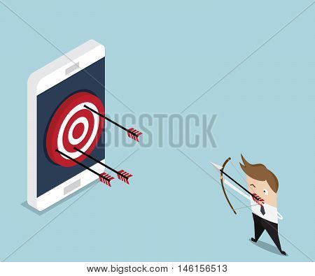 businessman hit target on mobile with arrow mobile marketing concept vector illustration