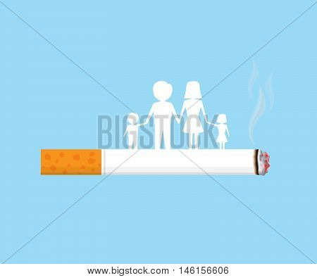 family waiting for destroying from cigarette smoke tobacco vector illustration
