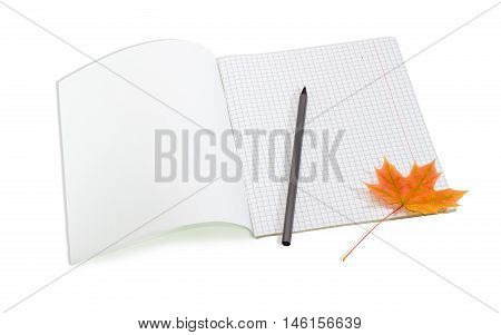 Open the first page school exercise book with sheets of squared paper pencil and one yellowed maple leaf on a light background