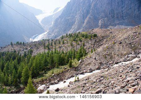 Small Aktru glacier in the Altay mountains
