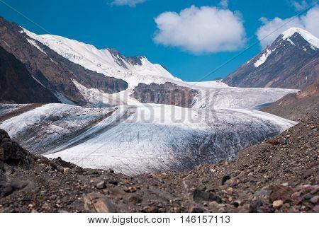 At The Foothill Of Big Aktru Glacier
