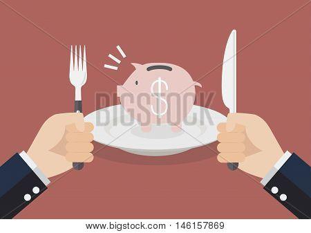 Businessman eating piggy bank. Business concept vector illustration