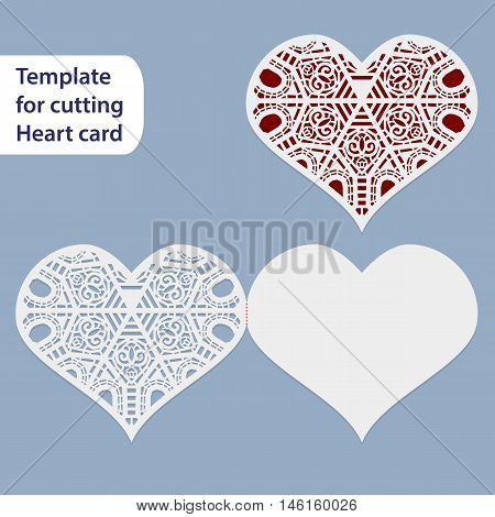 Paper openwork wedding card heart shape greeting postcard template for cutting lace imitation gift on Valentine's Day love letter curve plotter vector illustration