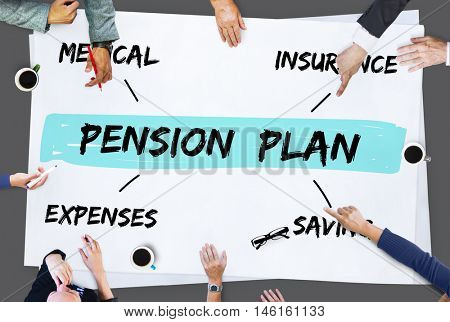Pension Plan Investment Retirement Diagram Concept