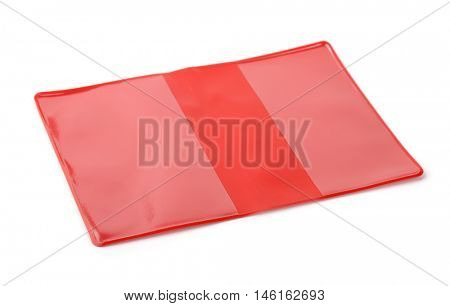 Red PVC book protective cover isolated on white