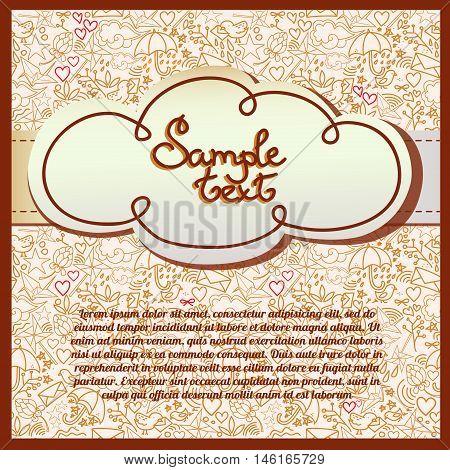 Cute romantic background, template for invitation, vetor illustration