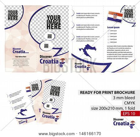 Brochure Design Template Discover Croatia. Ready for Print 3 mm Bleed. Flayer Leaflet Booklet Template. Vector Illustration.