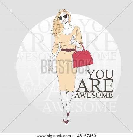 Beautiful Fashion Hipster Young Woman In A Beige Dress And Glasses With Bag On High Heels. Hand Draw