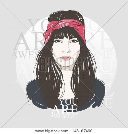 Beautiful Young Women In Turban With Long Dark Hair. Vector Hand Drawn Illustration.