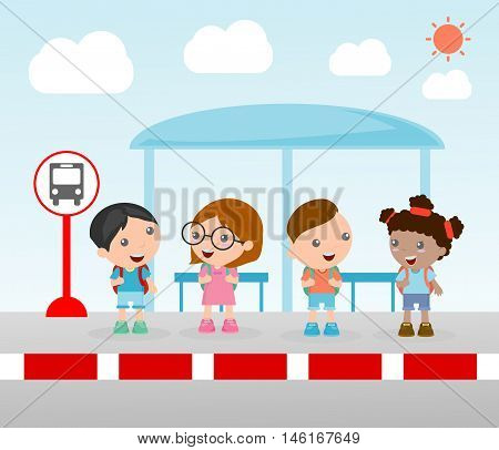 the students at the bus stop, A vector illustration of little children waiting at a bus stop, Waiting at Bus Stop, Vector Illustration.