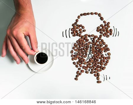 Coffee Cup And Beans Alarm Clock